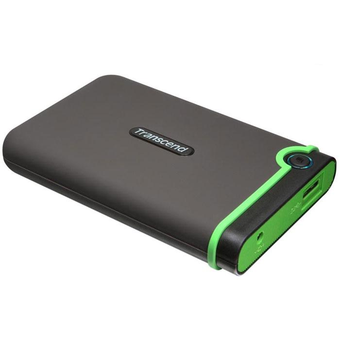Transcend StoreJet 25M3 500GB внешний жесткий диск (TS500GSJ25M3)TS500GSJ25M3Портативное устройство Transcend StoreJet 25M3 сочетает в себе преимущества награжденной ударопрочной серии внешних жестких дисков StoreJet М компании Transcend и новейшей технологии сверхскоростной передачи информации SuperSpeed USB 3.0, что обеспечит максимальную скорость передачи данных и необычайную ударопрочность устройства для пользователя. Кроме всех вышеперечисленных достоинств, StoreJet 25M3 оснащен кнопкой мгновенного резервного копирования. Теперь вы можете выполнить моментальное резервное копирование, синхронизацию и копирование больших файлов без потери вашего времени. Произведен с применением технологии высокоскоростного USB 3.0 и совместим с USB 2.0 с обратной стороны устройства Износостойкий ударопоглощающий внешний резиновый кейс Улучшения система внутреннее защитной подвески жесткого диска Простота в работе в режиме Plug and Play , без необходимости драйверов Питание от USB - нет необходимости во внешнем адапторе ...