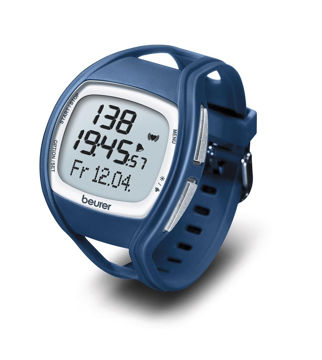 Пульсотахометр Beurer PM451092061Наручные часы-пульсометр Beurer PM45 с нагрудным ремнем и сменным браслетом. Прибор подсчитывает частоту пульса, расход энергии и количество сожженного жира за время тренировки. Функции часов, календаря, секундомера и будильника. Данный пульсометр предназначен для измерения частоты сердечных сокращений, показания пульса снимаются при помощи нагрудного ремня. Пульсотахограф принимает сигналы пульса от находящегося на нагрудном ремне передатчика в радиусе 70 сантиметров. Нагрудный ремень состоит из двух частей - собственно нагрудного ремня и эластичной ленты. В середине внутренней стороны нагрудного ремня находятся два ребристых датчика. Оба датчика измеряют частоту сердечных сокращений, по точности соответствующую ЭКГ, и передают эту информацию в пульсотахометр. Благодаря различным вариантам настройки Вы можете использовать Вашу индивидуальную программу тренировок и контролировать пульс. Снятие показаний пульса: через нагрудный ремень Передача...