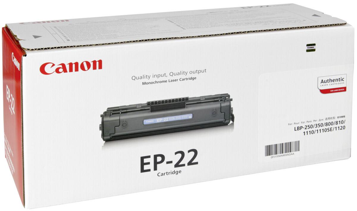 Canon EP-22, Black картридж для для Laser Shot LBP 1120/800/8101550A003Оригинальный черный картридж Canon EP-22 — качественный картридж для LBP 800/810/1120 (HP4092A LJ 1100). Сочетает в себе высокое качество, компактность и простоту установки. Немного увеличенный объём, вследствие чего — повышенный ресурс печати.