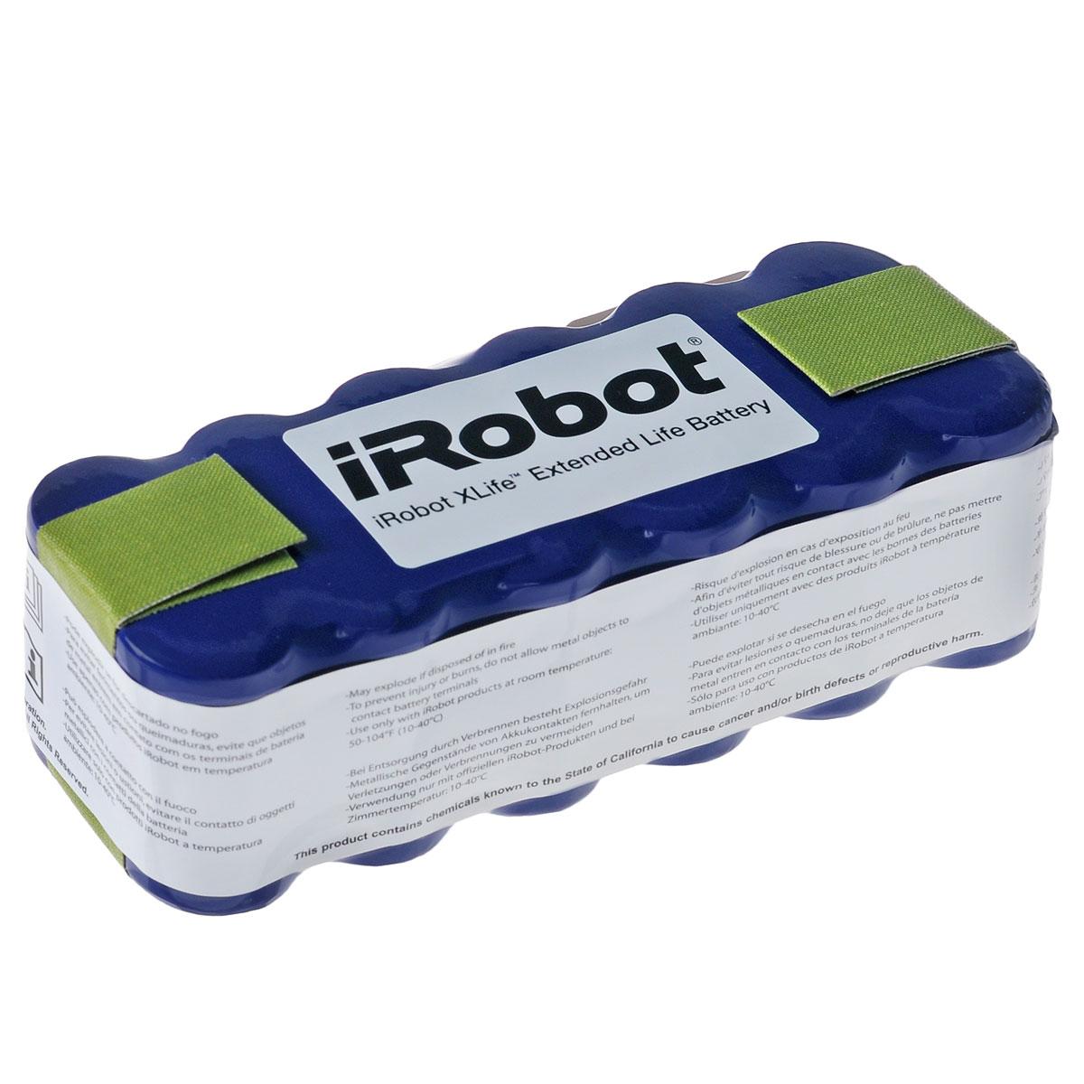 iRobot аккумуляторная батарея для Roomba, BlueiR1102Никельметаллгидридная аккумуляторная батарея с функцией перезарядки. Подходит для всех серий роботов- пылесосов iRobot Roomba и Scooba 450. Напряжение полностью заряженного аккумулятора 18 Вольт. Батарея устанавливается путем снятия нижней панели с пылесоса. Для контроля перегрева устройство имеет терморезистор. В случае перегрева робот-пылесос прекращает работу и продолжает ее после остывания батареи.