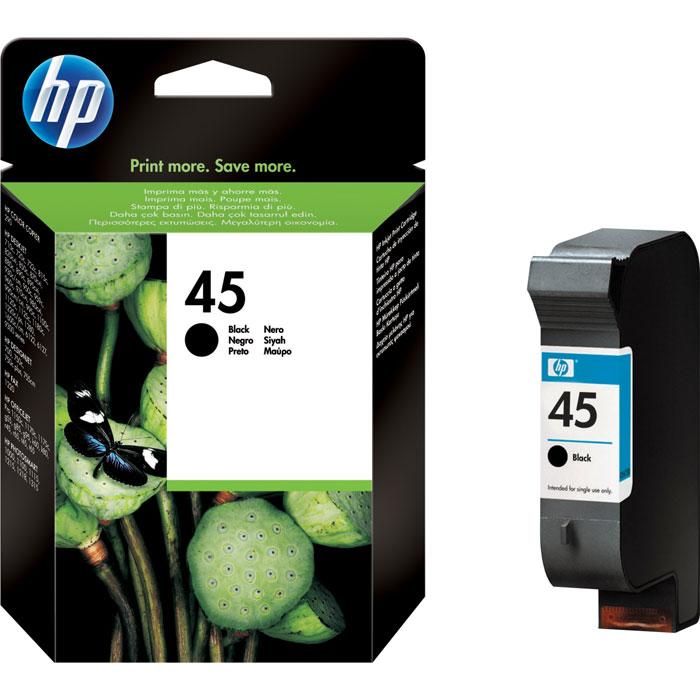 HP 51645AE (45), Black струйный картридж51645AEЧёрный струйный картридж HP 45 (51645AE) с фирменными черными чернилами на пигментной основе обеспечивает высокое качество печати на принтерах HP Deskjet, HP Photosmart, HP Designjet, HP Officejet с разрешением 600 х 600 т/д на специальной бумаге и плёнке HP. Капля чернил: 33 пл Совместимые типы чернил: на пигментной основе