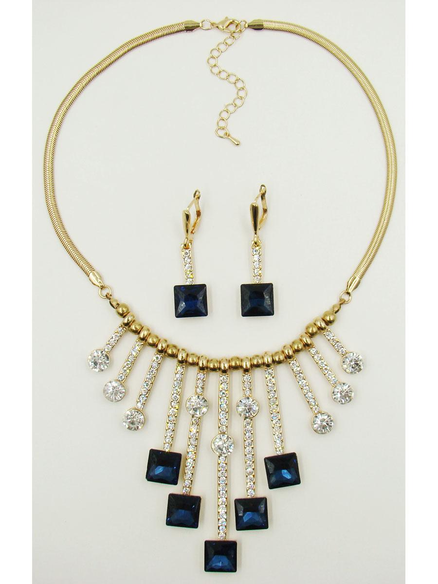 Набор бижутерии 'Taya': колье, серьги, цвет: золотистый, темно-синий. T-B-9620-SET-GL.D.BLUE