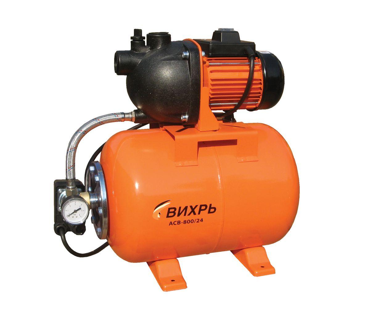 Насосная станция Вихрь АСВ-800/2468/1/1Насосная станция Вихрь АСВ-800/24 предназначена для бесперебойного водоснабжения в автоматическом режиме, коттеджей, дач, ферм и других потребителей. При этом она автоматически поддерживает необходимое давление в системе водоснабжения, самостоятельно включаясь и отключаясь по мере расходования воды потребителями. Встроенный датчик давления обеспечивает автоматическое включение насоса в случае необходимости. Гидроаккумулятор служит для аккумулирования воды под давлением и сглаживания гидроударов. Он состоит из стального резервуара со сменной мембраной из пищевой резины и имеет пневмоклапан для закачивания сжатого воздуха. Насос со встроенным эжектором, сочетает преимущества центробежных с практичностью самовсасывающих насосов. Встроенный внутренний эжектор с системой труб Вентури обеспечивает хорошие условия всасывания на входе в насос и позволяет создать высокое давление на выходе. Они позволяют перекачивать воду с меньшими, по сравнению с обычными центробежными...