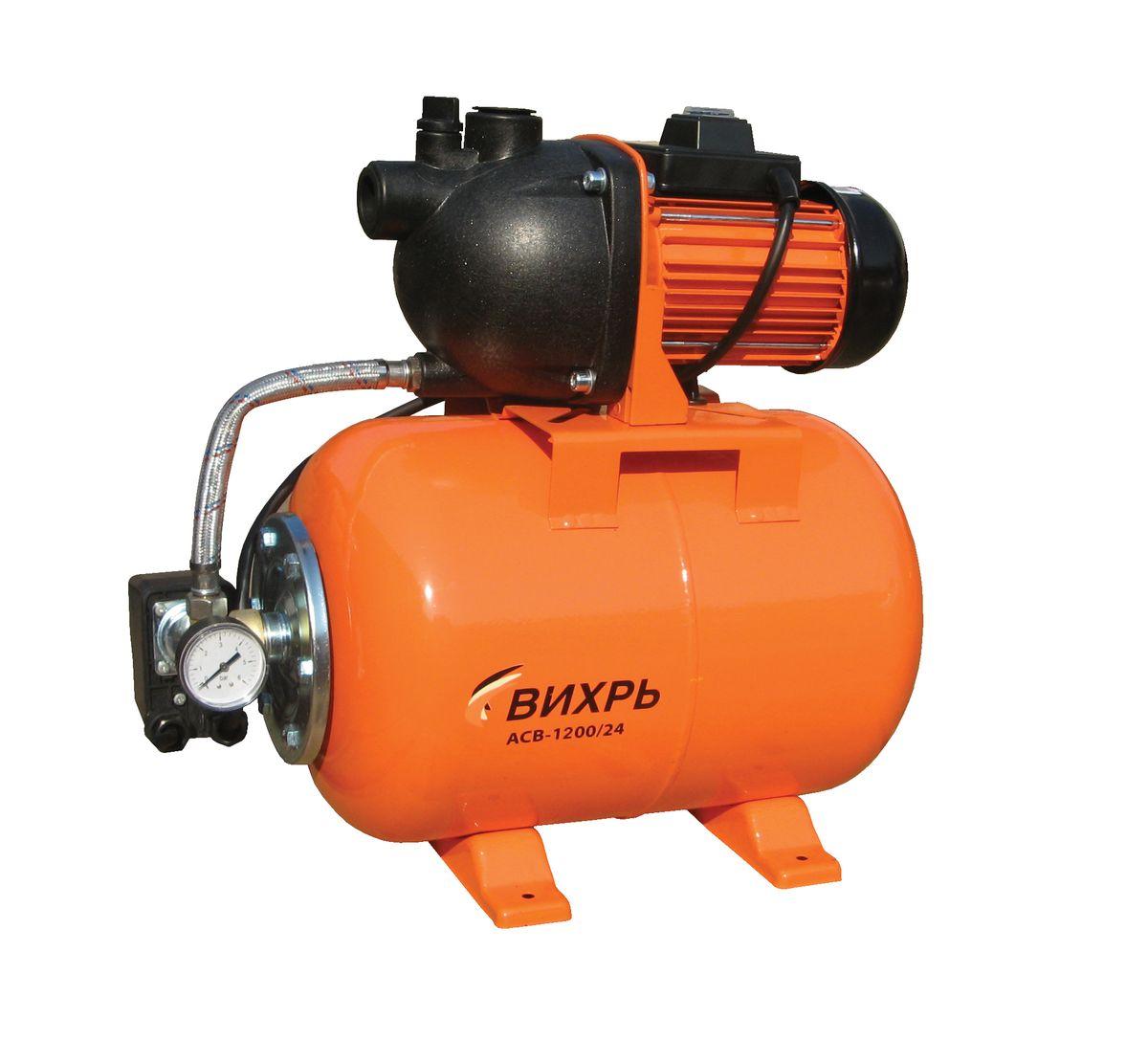 Насосная станция Вихрь АСВ-1200/2468/1/2Насосная станция Вихрь АСВ-1200/24 предназначена для бесперебойного водоснабжения в автоматическом режиме, коттеджей, дач, ферм и других потребителей. При этом она автоматически поддерживает необходимое давление в системе водоснабжения, самостоятельно включаясь и отключаясь по мере расходования воды потребителями. Встроенный датчик давления обеспечивает автоматическое включение насоса в случае необходимости. Гидроаккумулятор служит для аккумулирования воды под давлением и сглаживания гидроударов. Он состоит из стального резервуара со сменной мембраной из пищевой резины и имеет пневмоклапан для закачивания сжатого воздуха. Насос со встроенным эжектором, сочетает преимущества центробежных с практичностью самовсасывающих насосов. Встроенный внутренний эжектор с системой труб Вентури обеспечивает хорошие условия всасывания на входе в насос и позволяет создать высокое давление на выходе. Они позволяют перекачивать воду с меньшими, по сравнению с обычными центробежными...