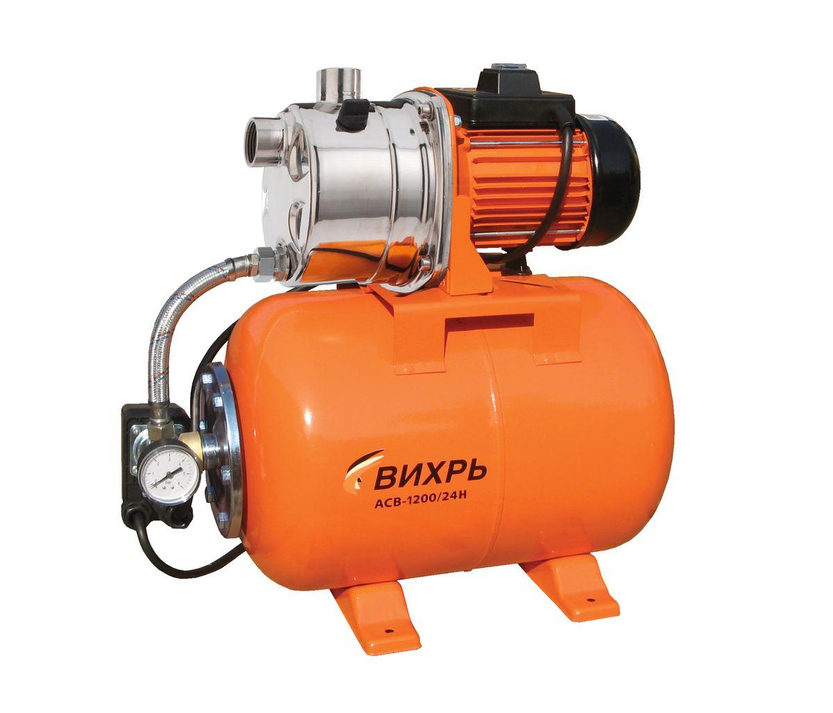 Насосная станция Вихрь АСВ-1200/24Н68/1/6Насосная станция Вихрь АСВ-1200/24Н предназначена для бесперебойного водоснабжения в автоматическом режиме, коттеджей, дач, ферм и других потребителей. При этом она автоматически поддерживает необходимое давление в системе водоснабжения, самостоятельно включаясь и отключаясь по мере расходования воды потребителями. Встроенный датчик давления обеспечивает автоматическое включение насоса в случае необходимости. Гидроаккумулятор служит для аккумулирования воды под давлением и сглаживания гидроударов. Он состоит из стального резервуара со сменной мембраной из пищевой резины и имеет пневмоклапан для закачивания сжатого воздуха. Насос со встроенным эжектором, сочетает преимущества центробежных с практичностью самовсасывающих насосов. Встроенный внутренний эжектор с системой труб Вентури обеспечивает хорошие условия всасывания на входе в насос и позволяет создать высокое давление на выходе. Они позволяют перекачивать воду с меньшими, по сравнению с обычными...