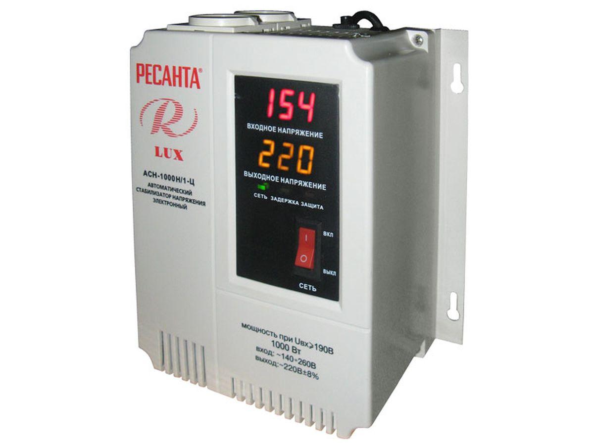 Стабилизатор напряжения Ресанта АСН-1000 Н/1-Ц LuxАСН-1 000 Н/1-Ц LuxОднофазный электронный стабилизатор Ресанта АСН-1000/1-Ц Lux оснащен микропроцессорным управлением, цифровым индикатором напряжения. На дисплее отображается входное/выходное напряжение. Особенности: Высоковольтная защита Отсутствует искажение синусоиды. Технические характеристики: Диапазон входного напряжения, В: 140-260 Номинальная мощность при Uвх=190 В, кВт: 1 КПД, при нагрузке 80%, не менее: 97 Точность поддержания выходного напряжения, %: 8 Время регулирования, мс: 5-7 Класс защиты: IP 20 (негерметизирован) Рабочая температура окружающей среды, °С: 0-45 Относительная влажность воздуха, не более, %: 80 Охлаждение: естественное.