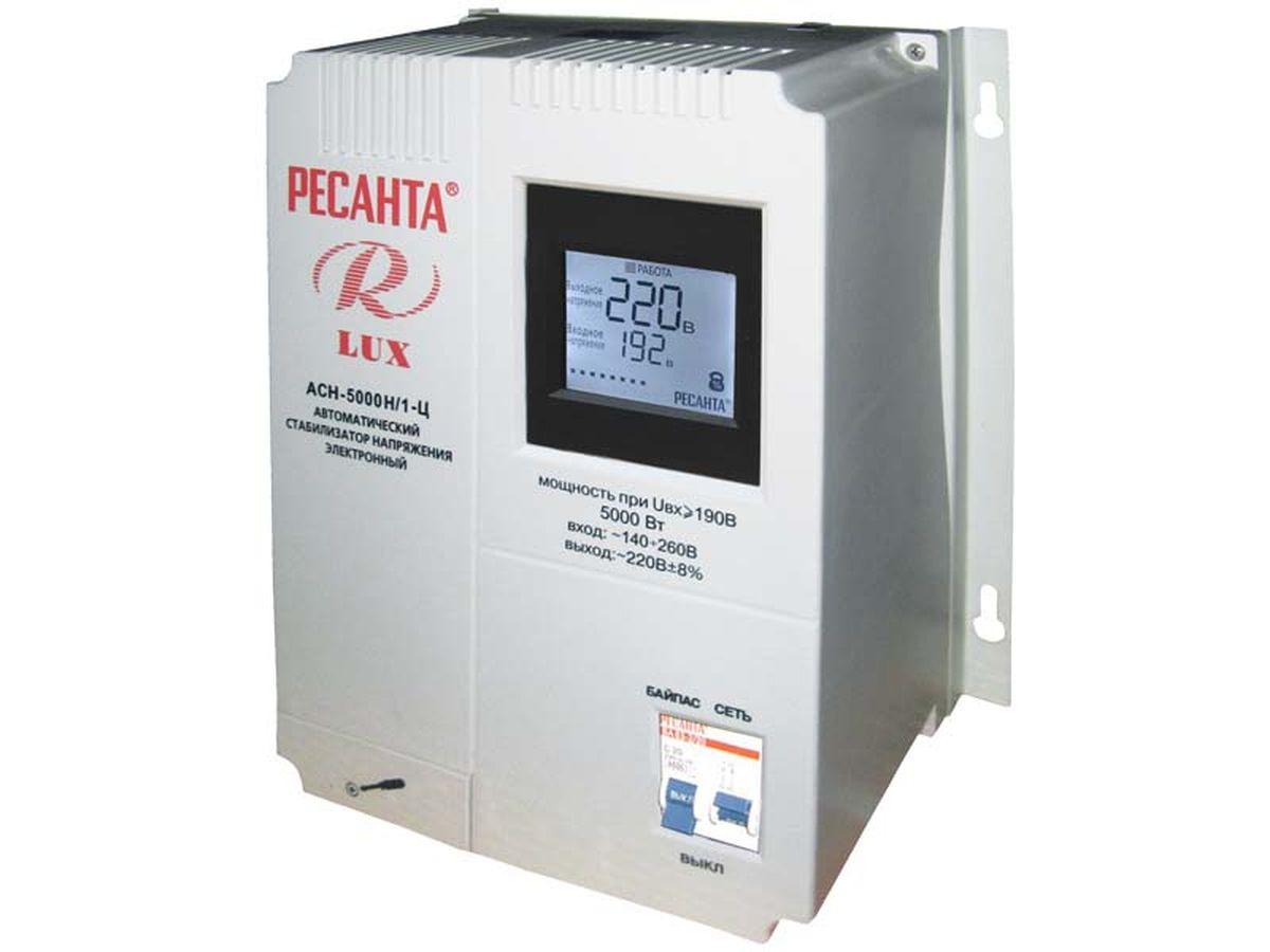 Стабилизатор напряжения Ресанта АСН-5000 Н/1-Ц LuxACH 5000Н/1-Ц LUXСтабилизатор напряжения Ресанта АСН-5000 Н/1-Ц Lux предназначен для обеспечения качественного электропитания и долгой работы различных бытовых устройств в условиях нестабильного напряжения в сети. Данный стабилизатор может обеспечивать стабильным питанием - телевизор, ресивер, DVD проигрыватель, кассовый аппарат, газовый котел. Характеристики КПД, при нагрузке 80% не менее: 97 Точность поддержания выходного напряжения: 8% Класс защиты: IP 20 (негерметизирован) Охлаждение: естественное Время регулирования: 5-7 мс Искажение синусоиды: отсутствует Высоковольтная защита: 260±5 В Рабочая температура окружающей среды: 0-45 °С Относительная влажность воздуха: не более 80%