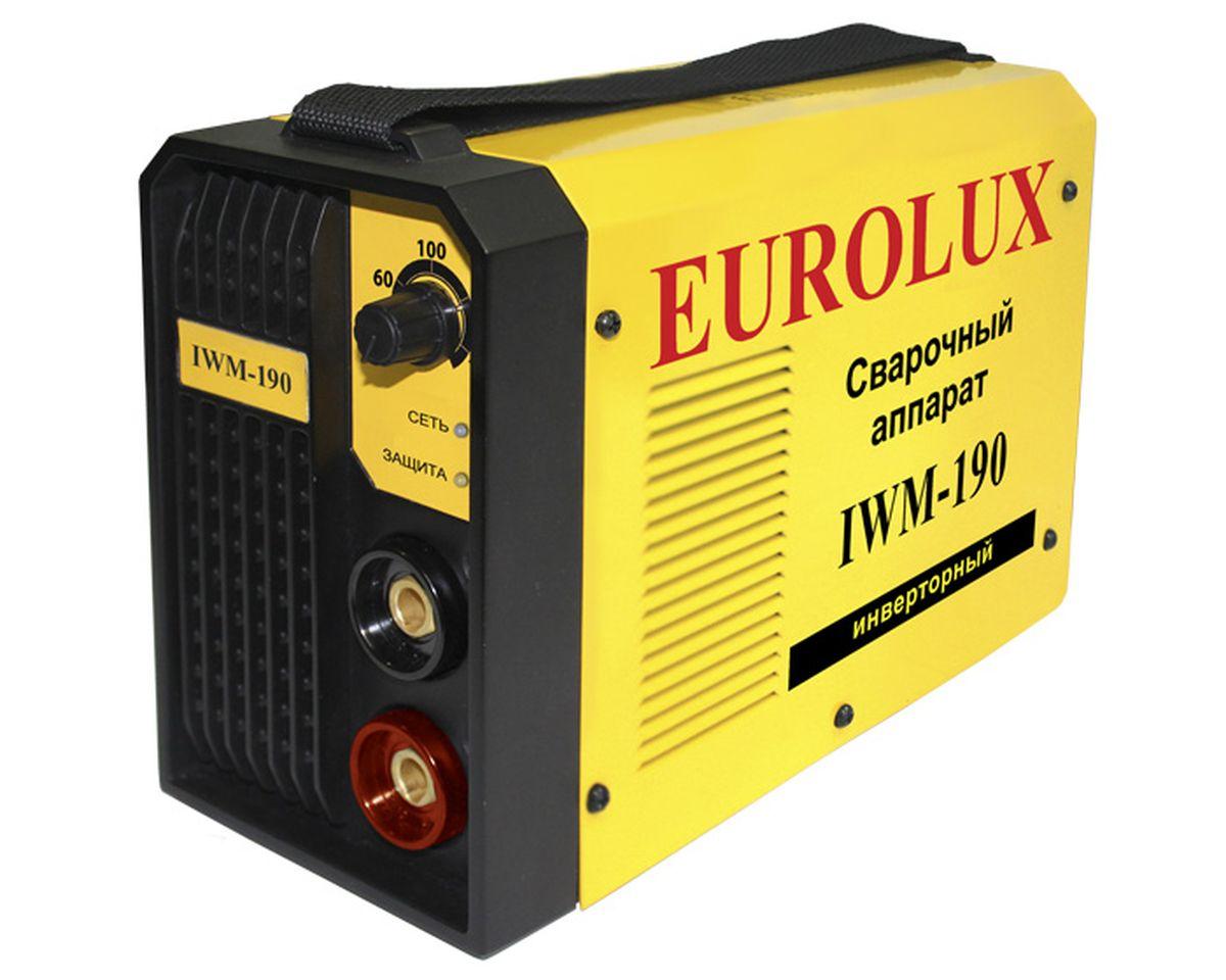 Eurolux IWM 190 инверторный сварочный аппарат65/27.Eurolux IWM 190 - сварочный аппарат постоянного тока предназначенный для использования в бытовых условиях, садовых и гаражных мастерских. Аппарат используется со всеми типами электродов ММА. В сварочном аппарате используется инверторная технология IGBT, которая позволяет достичь малого веса и размера, высоких показателей цикла и качества работы.
