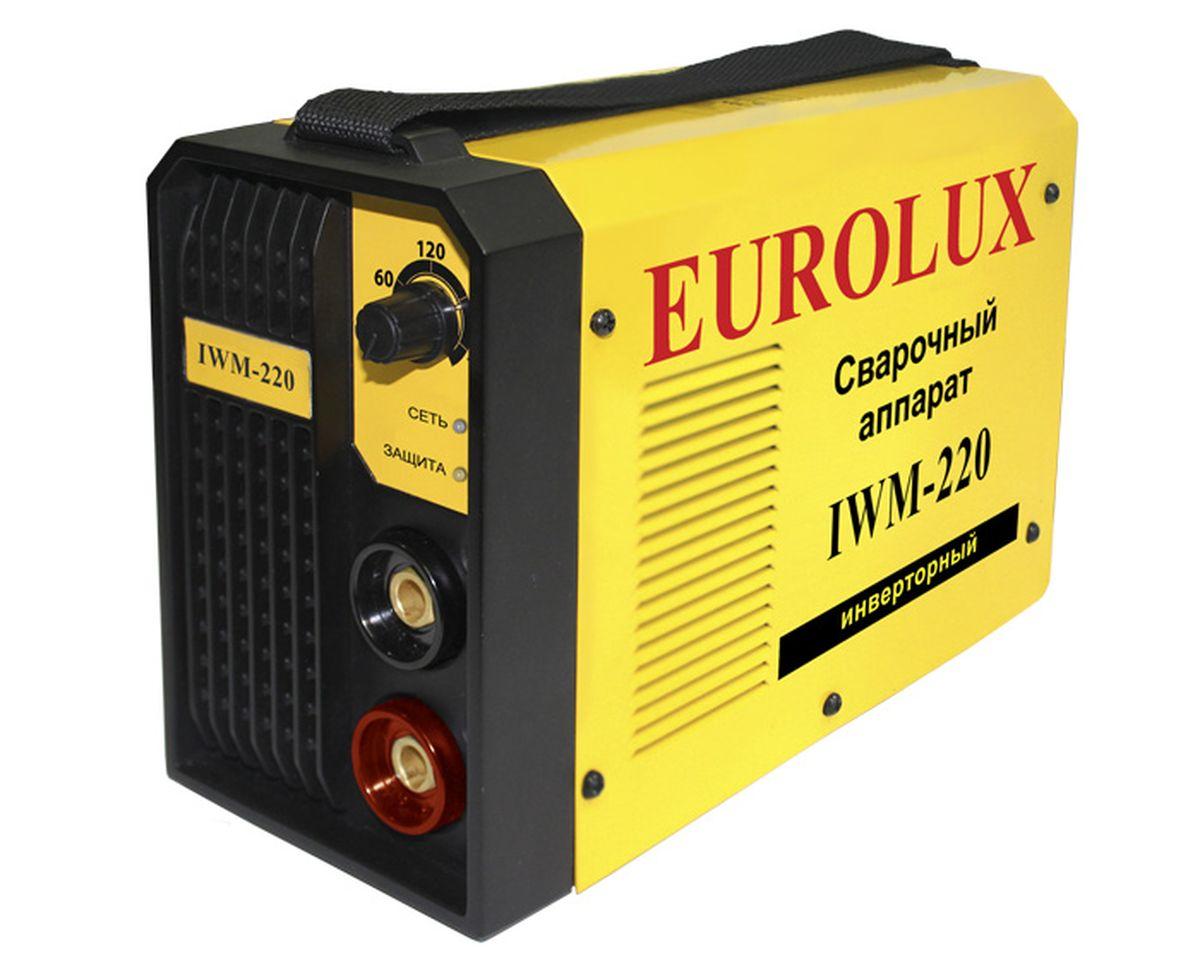 Eurolux IWM 220 инверторный сварочный аппарат65/28.Eurolux IWM 220 - сварочный аппарат постоянного тока предназначенный для использования в бытовых условиях, садовых и гаражных мастерских. Аппарат используется со всеми типами электродов ММА. В сварочном аппарате используется инверторная технология IGBT, которая позволяет достичь малого веса и размера, высоких показателей цикла и качества работы. Рабочее напряжение 160-245 В Максимальный потребляемый ток 30 А Класс защиты IP21 Максимальный диаметр электродов 5 мм