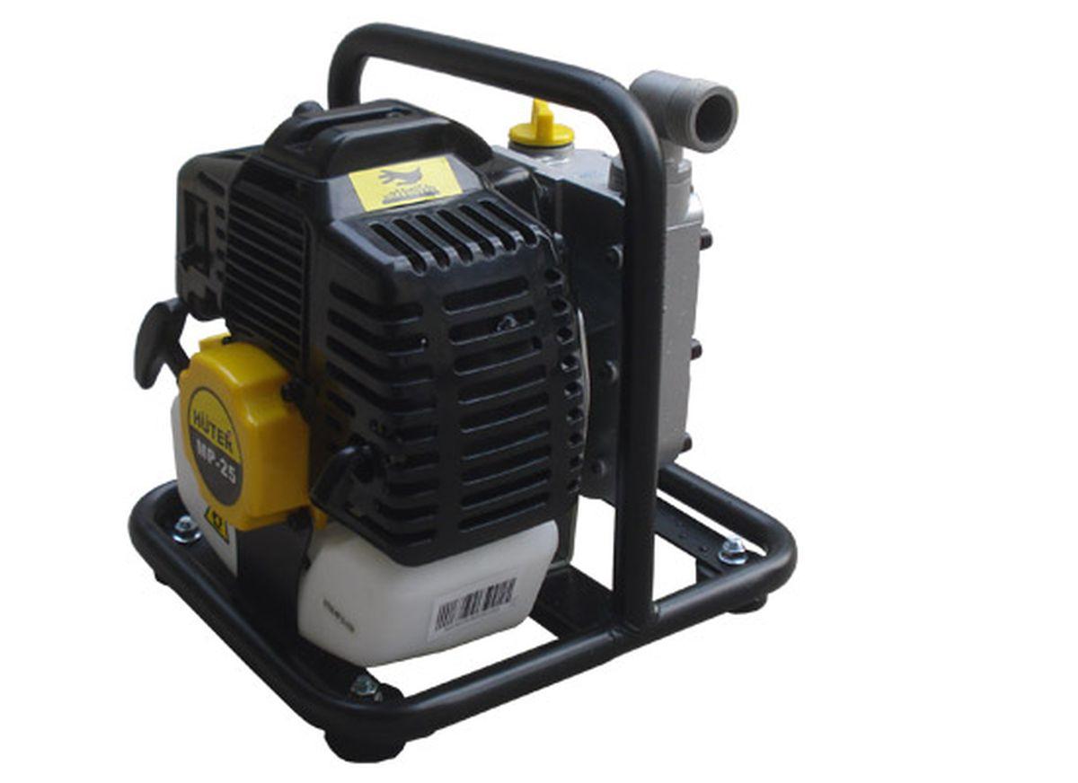 Мотопомпа HuterMP-25MP-25Малогабаритная самовсасывающая мотопомпа Huter (модель MP-25) имеет бензиновый двухтактный двигатель. Используется данный агрегат для осуществления перекачки воды слабой степени загрязненности с наличием частиц, диаметр которых – до 3 мм (вертикальный напор – до 25 м). Применяется в бытовых целях и на производстве.