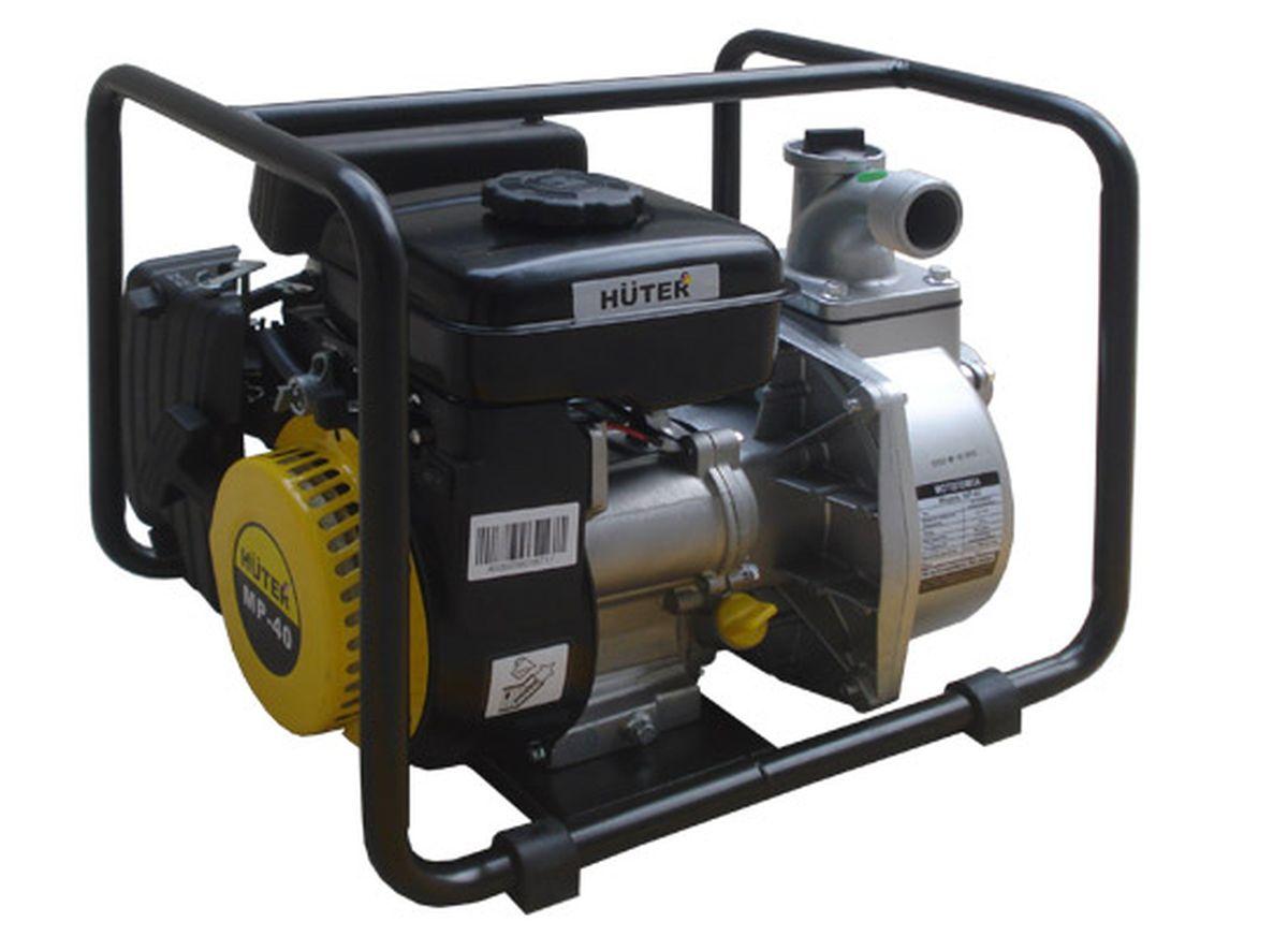 Мотопомпа HuterMP-40MP-40Центробежная мотопомпа Huter (модель MP-40) с бензиновым двигателем применяется при необходимости перекачивания чистой воды или же жидкости, имеющей незначительное загрязнение. Является компактной и производительной, простой в эксплуатации. Может использоваться для осуществления полива растений или организации водоснабжения.