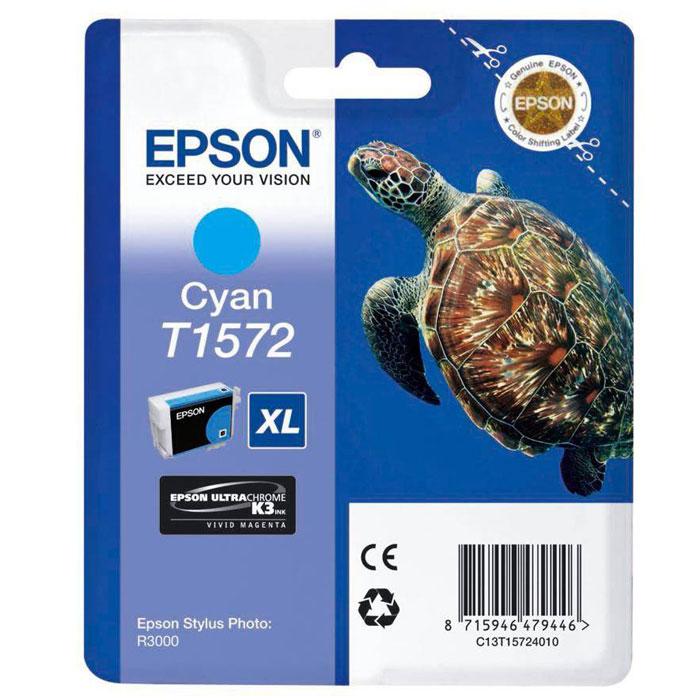 Epson T1572 XL (C13T15724010), Cyan картридж для Stylus Photo R3000C13T15724010Картридж с чернилами Epson T157 XL для струйных принтеров.