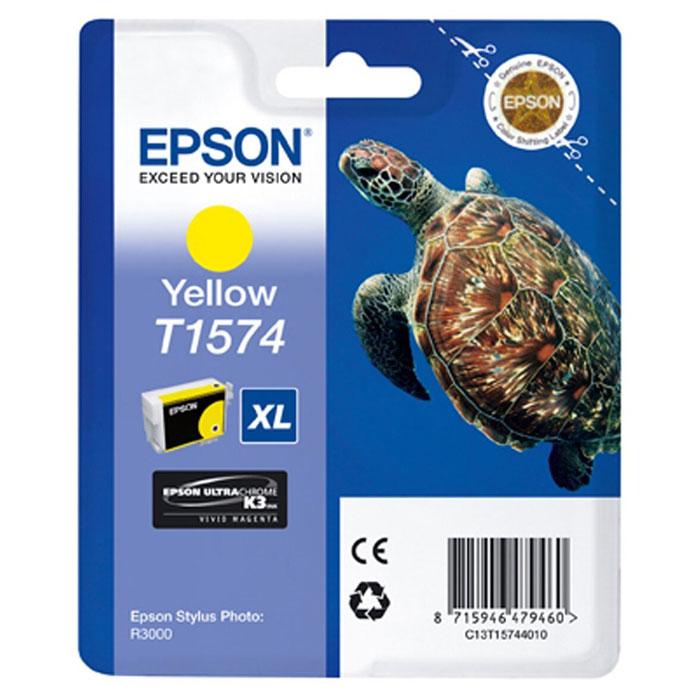 Epson T1574 XL (C13T15744010), Yellow картридж для Stylus Photo R3000C13T15744010Картридж с чернилами Epson T157 XL для струйных принтеров.