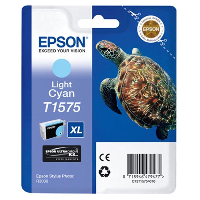 Epson T1575 XL (C13T15754010), Light Cyan картридж для Stylus Photo R3000C13T15754010Картридж с чернилами Epson T157 XL для струйных принтеров.