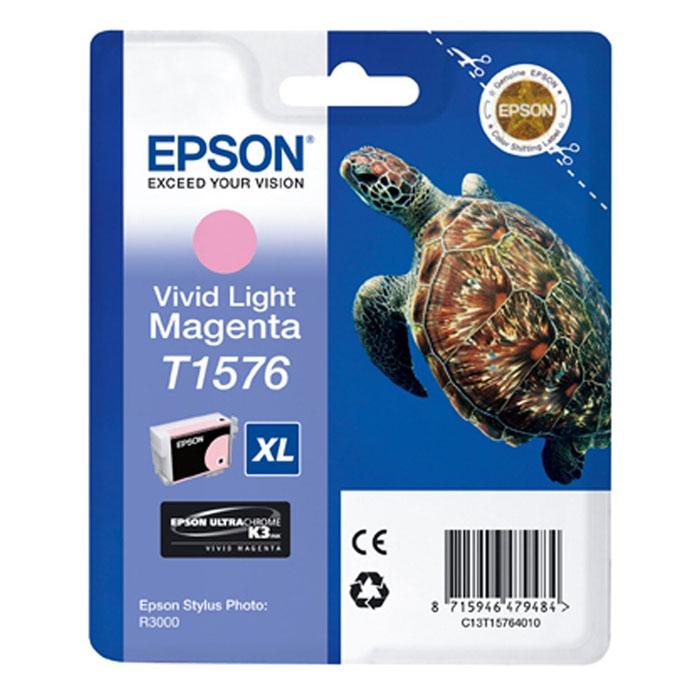 Epson T1576 XL (C13T15764010), Vivid Light Magenta картридж для Stylus Photo R3000C13T15764010Картридж с чернилами Epson T157 XL для струйных принтеров.