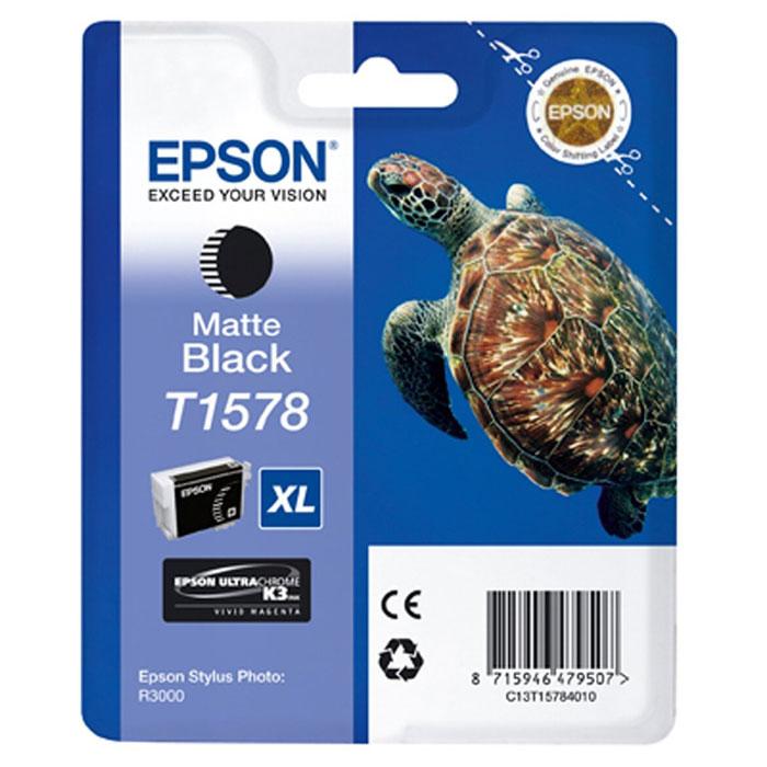 Epson T1578 XL (C13T15784010), Matte Black картридж для Stylus Photo R3000C13T15784010Картридж с чернилами Epson T157 XL для струйных принтеров.