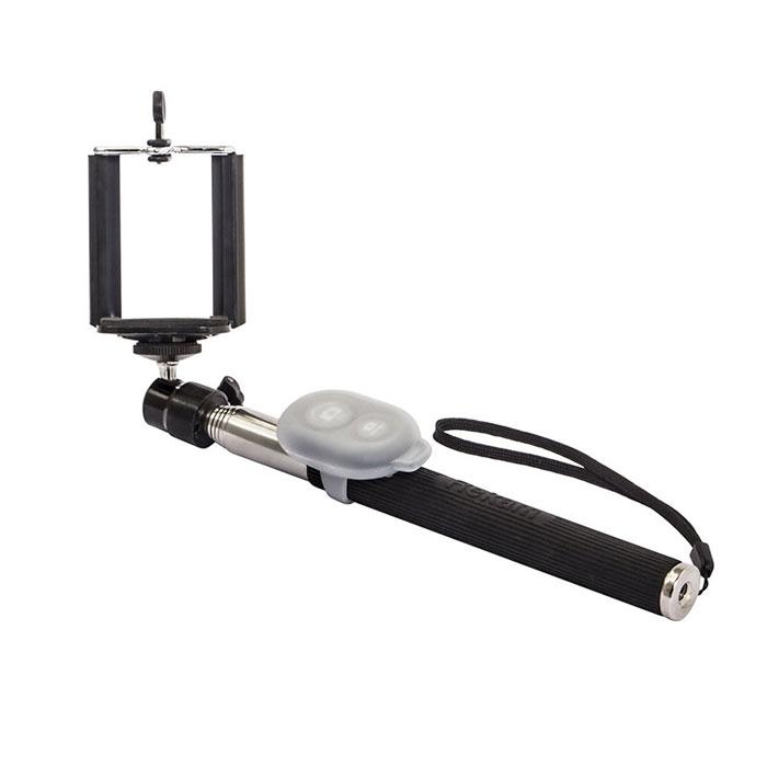 Rekam SelfiPod S-450B, Black беспроводной монопод для селфиS-450BRekam SelfiPod S-450 - простое, и невероятно удобное устройство для создания фотографий в жанре селфи. Конструктивно новый гаджет представляет собой телескопическую «ручку-указку», но с более прочной конструкцией, способной выдержать как смартфон, так и фотокамеру весом до 500 гр. При помощи селфипода вы сможете не только запечатлеть себя в разнообразных ситуациях, но и создать по-настоящему оригинальные кадры. SelfiPod S-450 от Rekam подходит для смартфонов, работающих на базе Android и iOS. SelfiPod S-450 состоит из семи выдвижных секций из стали, диаметром от 18 до 10 мм. В сложенном состоянии длинна селфипода составляет всего 23 см, благодаря чему он с легкостью помещается в небольшой дамской сумочке. В разложенном состоянии максимальная длина составляет 118 см. Благодаря удобной силиконовой ручке и ремешку на запястье, селфипод удобно лежит в руке, и может активно использоваться в повседневной жизни. SelfiPod S-450...