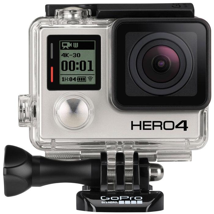 GoPro Hero4 Black Edition Adventure экшн-камераCHDHX-401GoPro Hero4 Black Edition - уникальная экшн-камера с невероятно высоким качеством съемки. Благодаря улучшенному качеству изображения и более мощному процессору, позволяющему снимать видео с большей частотой кадров, HERO4 Black становится самой передовой камерой GoPro и выводит ее на совершенно новый уровень. Поддержка 4K позволит сделать впечатляющее и захватывающее видео вашего мира. Новые параметры режима ProtuneTM, доступны теперь как для видео так и для фото. Настройки цвета, диапазона чувствительности, экспозиции - эти и другие параметры съемки можно выставлять вручную. Улучшенный звук с минимальными искажениями, и потрясающая запись видео позволят вам запечатлеть лучшие трюки и самые яркие события вашей жизни. Встроенные Wi-Fi модуль и Bluetooth откроют перед вами расширенные возможности подключения к пульту Smart Remote (опция) и приложению GoPro, позволяя просматривать и делиться вашим контентом в социальных сетях. Съёмка фотографий, в...