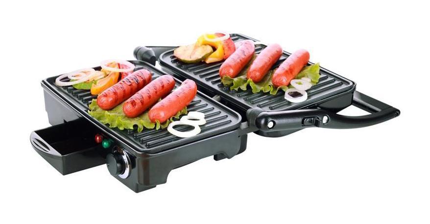 Smile KG 943 электрогрильKG 943Smile KG 943 - контактный электрогриль, с которым вы сможете приготовить любые блюда из вашего гриль-меню. Данная модель рассчитана на 4 порции, оснащена поддоном для сбора жира, также имеется функция плавной регулировки температуры и индикатор работы и нагрева. Пластины электрогриля имеют антипригарное покрытие, что обеспечит качественное приготовление блюд без пригорания и приставания. Со Smile KG 943 вы сможете приготовить вкусные гриль-блюда в любую пору года, не выходя из дома