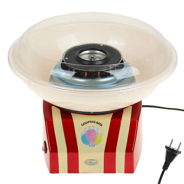 Pullman PL-1011R, Red прибор для приготовления сахарной ватыPL-1011RPullman PL-1011 легко приготовит сладкую вату. Для этого засыпаем в резервуар 1 ч.л. сахара, затем включаем и ждем, пока он нагреется. Через несколько минут приступаем к наматыванию ваты. Для приготовления ваты подойдет простой сахар.