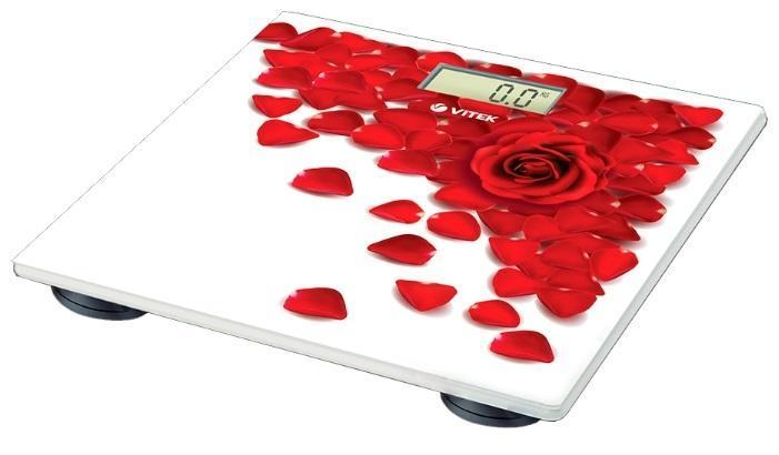 Vitek VT-1989(R) весы напольныеVT-1989(R)Напольные весы VT -1989 – это находка как для приверженцов здорового образа жизни, так и для эстетов. Теперь вы можете не только легко контролировать свой вес, но также и украсить свою кухню стильным аксессуаром. Напольные весы VT-1989 обязательно поднимут настроение вам и вашим гостям благодаря нежному принту в виде лепестков роз: вам навряд ли захочется спрятать это оригинальное устройство под диван или кровать. В данной модели предусмотрена платформа из закаленного стекла - высокопрочного материала, который выдерживает большой вес, а также не повреждается при переноске.