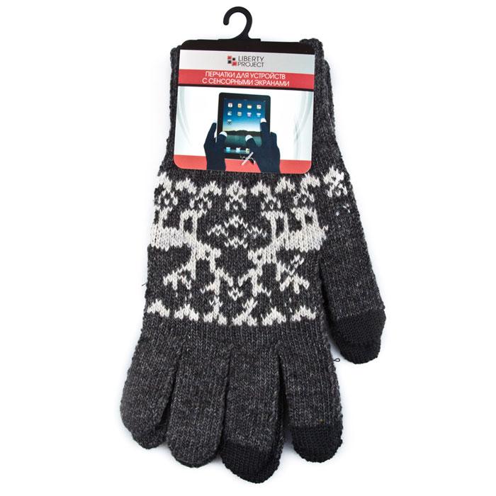 Liberty Project Олени, Grey перчатки для сенсорных экранов, размер M (1008)R0000501Перчатки Liberty Project Олени предназначены для удобства использования цифровых устройств с сенсорными экранами в сезон холодов и для работы при низких температурах. Указательный, средний и большой пальцы имеют на подушечках перчаток проводящие сенсорные нити, что позволяет пользоваться мобильным устройством, не снимая перчаток.