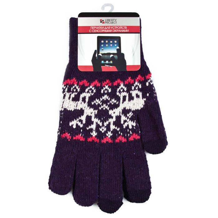 Liberty Project Олени, Purple перчатки для сенсорных экранов, размер S (1008)R0000503Перчатки Liberty Project Олени предназначены для удобства использования цифровых устройств с сенсорными экранами в сезон холодов и для работы при низких температурах. Указательный, средний и большой пальцы имеют на подушечках перчаток проводящие сенсорные нити, что позволяет пользоваться мобильным устройством, не снимая перчаток.