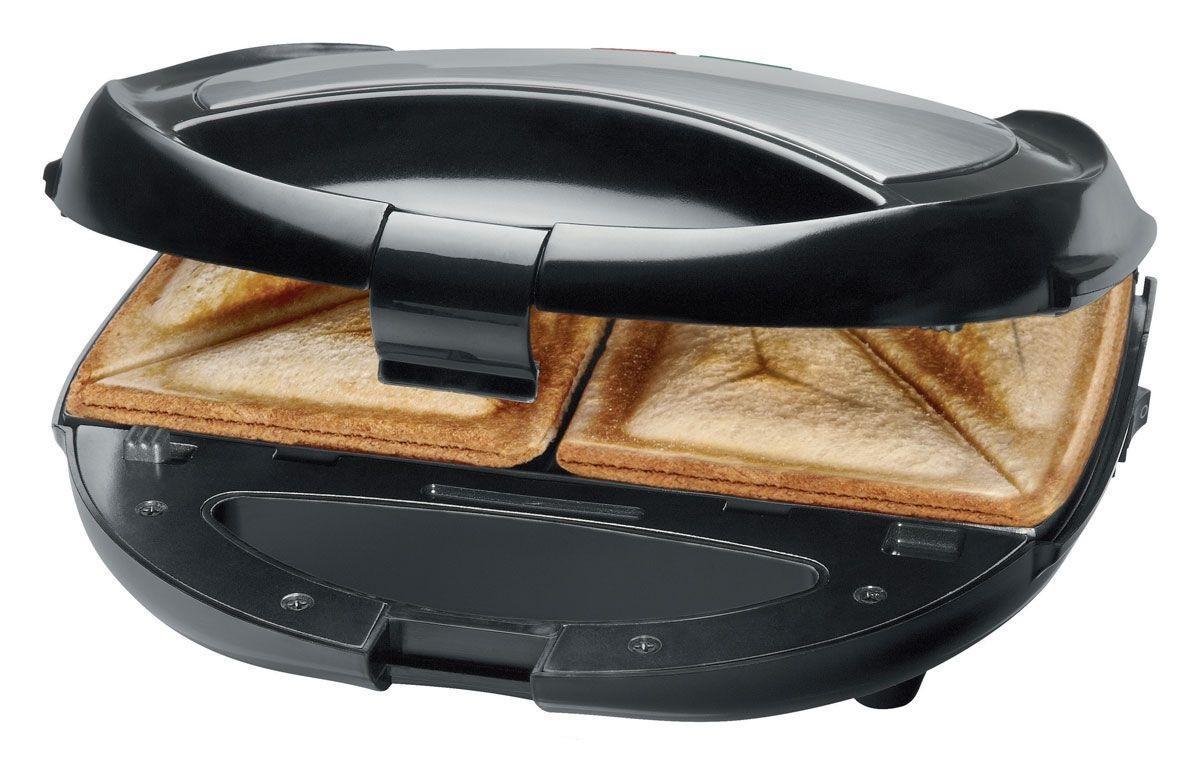 Clatronic ST-WA 3490, Black сэндвич-гриль 3 в 1ST/WA 3490Сэндвич-гриль Clatronic ST/WA 3490 с формами из нержавеющей стали, 3 в 1: сэндвичница, вафельница и контактный гриль. Универсальное использование достигается за счет трех различных сменных пластин (для сэндвич-тостов, вафель, гриля). Таким образом, заменяя формы вафельницы одну на другую, вы быстро приготовите и поджаренный сэндвич на завтрак, и полезное мясо-гриль или овощи-гриль на ужин, и вкусные домашние вафли на десерт. Устройство оснащено термоизолированными ручками, что исключает риск обжечься, а противоскользящие ножки прочно фиксируют его на поверхности.