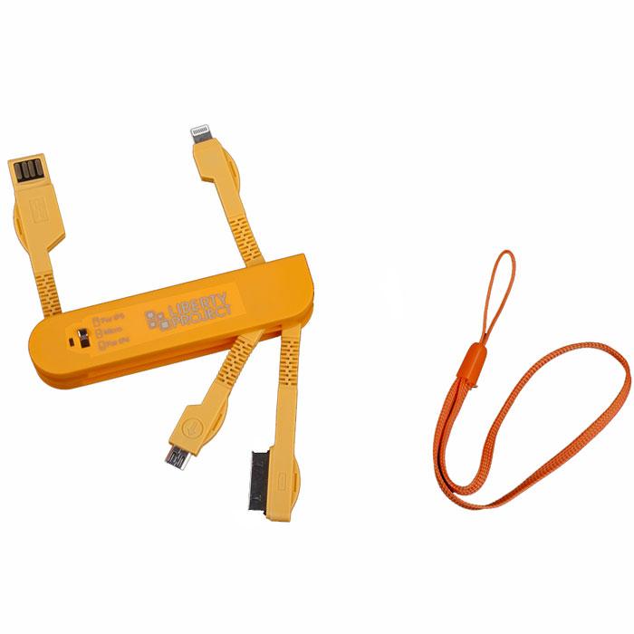 Liberty Project дата-кабель 3 в 1 карманный, OrangeR0005043Универсальный кабель Liberty Project предназначен для передачи данных между вашим устройством и персональным компьютером, а также зарядки от источников питания с USB-выходом. Снабжен сразу 4 типами коннекторов.
