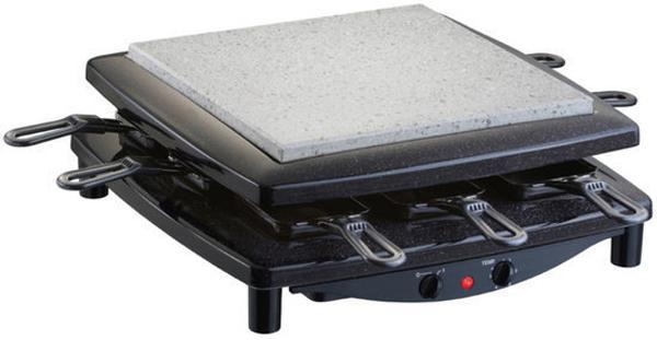 Steba RC 3 раклетницаRC 3Раклетница Steba RC 3 обладает качественным верхним грилем, благодаря которому, вы сможете готовить вкусное мясо, рыбу или овощи. Он изготовлен из натурального камня, поэтому обладает множественными плюсами – он не царапается, к тому же его можно мыть в посудомоечной машине, что согласитесь, не совсем привычно. Любителям швейцарского блюда фондю, понравятся сковородочки, которые имеют небольшой размер и оборудованы ручками. Они не нагреваются при жарке, так что вы можете быть спокойны – при правильном и аккуратном использовании, ожоги рук исключены