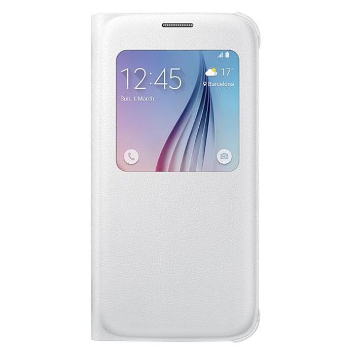 Samsung EF-CG920P S-View чехол для Galaxy S6, WhiteEF-CG920PWEGRUSamsung EF-CG920P S-View для Galaxy S6 защитит ваше устройство от внешних повреждений, а также позволит вам получить доступ к различным смарт-функциями устройства, не открывая крышку.