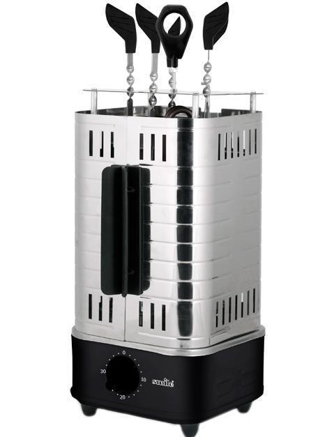 Smile GB 3313 электрошашлычницаGB 3313Шашлычница Smile GB-3313 поможет сделать шашлык даже в домашних условиях. С ее помощью вы сможете порадовать своими кулинарными успехами себя и близких. Модель обладает мощностью 1000 Вт и легко моется. Для приготовления блюда в комплект входят 5 шампуров, которые автоматически вращаются, таким образом, достигается равномерное прожаривание со всех сторон. А самое главное - нет надобности самостоятельно их переворачивать.