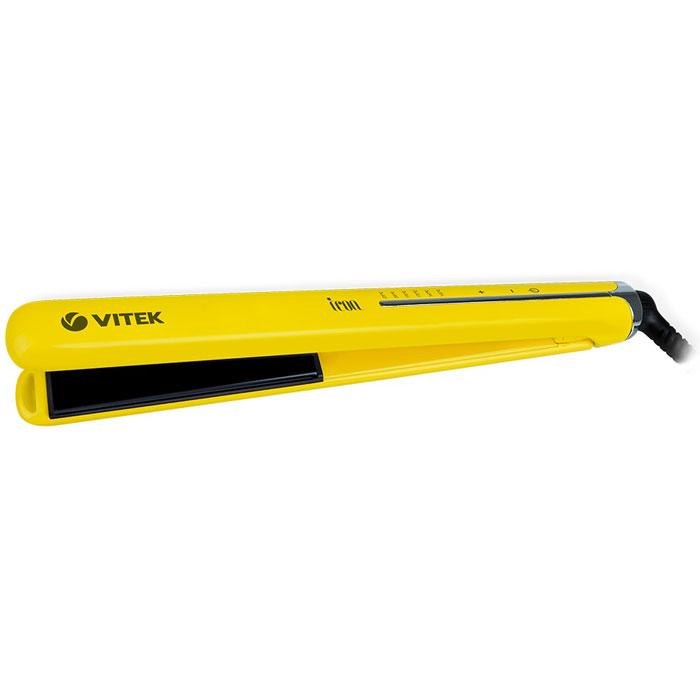 Vitek VT-2312(Y) выпрямитель для волосVT-2312(Y)Добиться идеально гладких волос или создать роскошные локоны вы можете при помощи выпрямителя Vitek VT-2312 (Y). В компактном устройстве предусмотрена уникальная технология покрытия Aqua Ceramic - она равномерно распределяет тепло по поверхности нагревательных пластин, предотвращая пересушивание волос. Одновременно с этим формула Aqua Ceramic в сочетании с оптимальной температурой «запечатывает» чешуйки волос, сохраняя таким образом их естественную влагу, красоту и здоровый блеск. Благодаря использованию технологии Floating plates плавно подвижные закрепленные на пружинах пластины обеспечивают равномерное распределение и давление на волосы, предотвращая их заламывание при укладке. Выпрямитель обеспечен удлиненными (110 мм) нагревательными пластинами шириной 25 мм, которые позволяют эффективнее выпрямлять волосы, и гарантируют быструю укладку. Добиться идеального результата в укладке позволяет быстрый нагрев прибора в течение 30 секунд до температуры,...