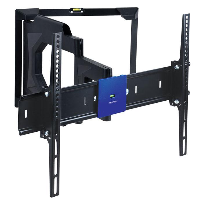 Kromax Ledas-80, Black кронштейн для телевизоров 32-65LEDAS-80Наклонно поворотное крепление Kromax Ledas-80 для LED/LCD телевизоров с диагональю экрана от 32 до 65 дюймов (81-165 см) и максимальным весом 45 кг. Благодаря широкому настенному основанию, данный подвес для телевизора, можно надежно устанавливать на гипсокартонные стены или стены, которые выполненные из пустотелого кирпича, блоков и т.п. Кронштейн имеет два встроенных водяных уровня для точного монтажа, ваш ТВ будет висеть всегда ровно. Стильный эргономичный дизайн позволяет использовать данное крепление в любых помещениях, оно идеально впишется даже в самую изысканную комнату. Ведь все металлические части, скрыты за декоративными накладками. В конструкции кронштейна, предусмотрены специальные скрытые каналы, в которые можно уложить все соединительные кабеля. Легкая регулировка поворота и наклона одним движением руки. Вы в любой момент можете изменить положение экрана, не прибегая к специальным инструментам.