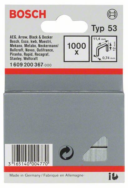 Скрепки для степлера Bosch 1000 шт 12мм тип 53 160920036716092003671000 СКРЕПКИ 12ММ ТИП 53