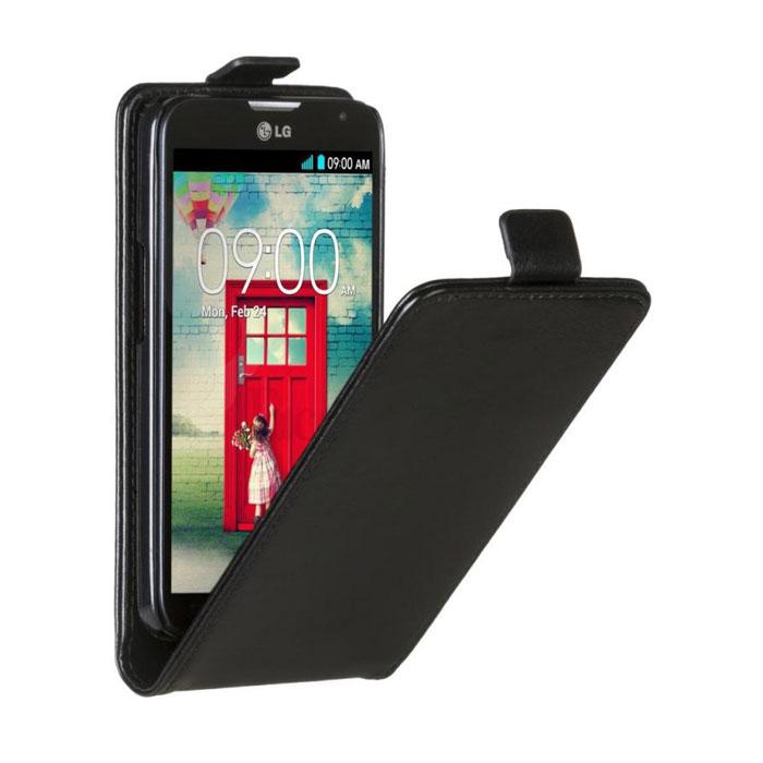 Skinbox Flip Case чехол для LG L70, Black2000000033228Чехол Skinbox Flip Case для LG L70 выполнен из высококачественного поликарбоната и экокожи. Он обеспечивает надежную защиту корпуса и экрана смартфона и надолго сохраняет его привлекательный внешний вид. Чехол также обеспечивает свободный доступ ко всем разъемам и клавишам устройства.