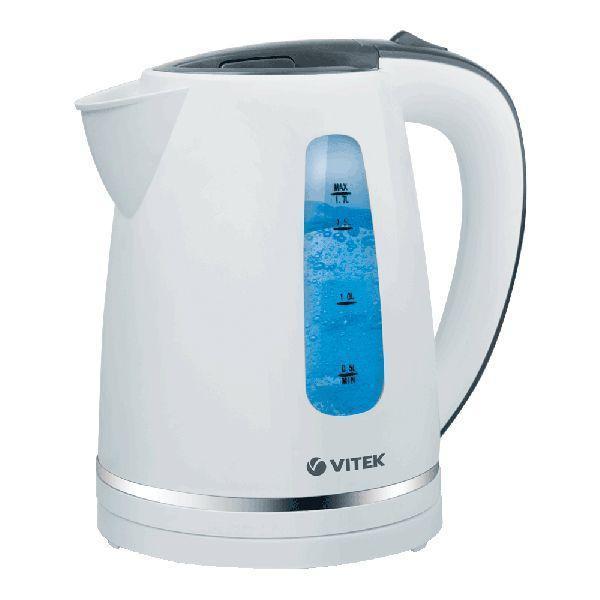 Vitek VT-7018(W) электрический чайникVT-7018(W)Легко, быстро, качественно вскипятить воду для любимых горячих напитков вам позволит ваш верный помощник электрочайник VT-7018. Выполненный в классическом дизайне, с корпусом из термопластика белого цвета и металлической вставкой, чайник превратится в любимый аксессуар на вашей кухне. Благодаря мощности 2200 Вт вы вскипятите воду в считанные минуты в, а объем 1,7 л идеально подходит, чтобы радовать всю семью или компанию гостей вкуснейшим чаем. Преимущество данной модели – в наличии двусторонней шкалы, которая позволяет легко определить уровень воды в чайнике. Устройство оснащено также многоуровневой защитой: чайник отключится сам, если вода закипела, или воды в нем слишком мало. Во время кипячения чайника работает красивая голубая подсветка корпуса, что превращает процесс в волшебное действо. Скрытый нагревательный элемент (плоское дно) обеспечивает безопасность во время работы устройства, а также легкий уход за ним. Корпус без усилий можно поворачивать на базе благодаря его...