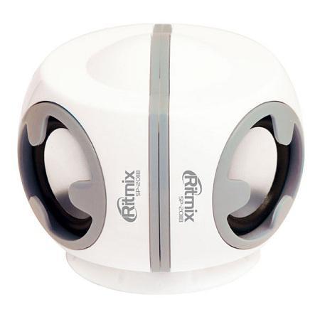 Ritmix SP-2011B, White портативная акустическая система10102259Ritmix SP-2011B – это мультимедийная активная акустическая стереосистема 2.0 с качественным звуком. Колонки работают от встроенного аккумулятора, что позволяет использовать их с любой другой мобильной электроникой. Благодаря компактному размеру акустическая система легко поместится в сумке с ноутбуком, а трансформируемая конструкция позволяет соединить колонки в единый источник звука.