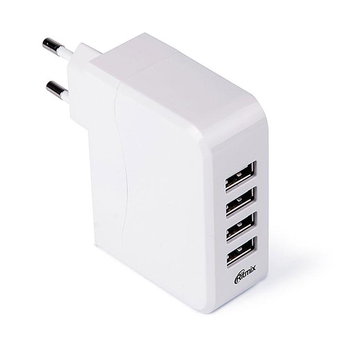 Ritmix RM-450 сетевое зарядное устройство15117521Ritmix RM-450 – это портативное зарядное устройство c четырьмя портами USB, что позволяет заряжать сразу несколько устройств одновременно.