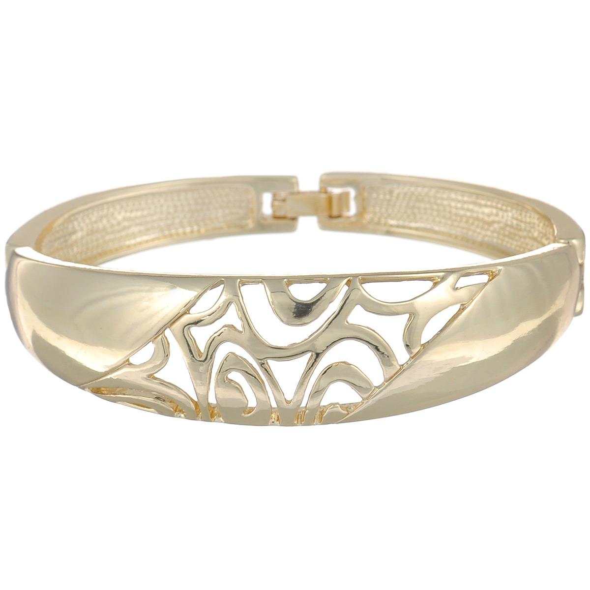 Браслет Selena Medea, цвет: золотистый. 4004971040049710Оригинальный браслет Selena Medea выполнен из металла с гальваническим золочением и оформлен резным узором. Такой браслет позволит вам с легкостью воплотить самую смелую фантазию и создать собственный, неповторимый образ. Браслет застегивается на металлический замок. Украшения Медея – это стильная и лаконичная классика, изделия, которые выглядят как дорогие дизайнерские ювелирные украшения.