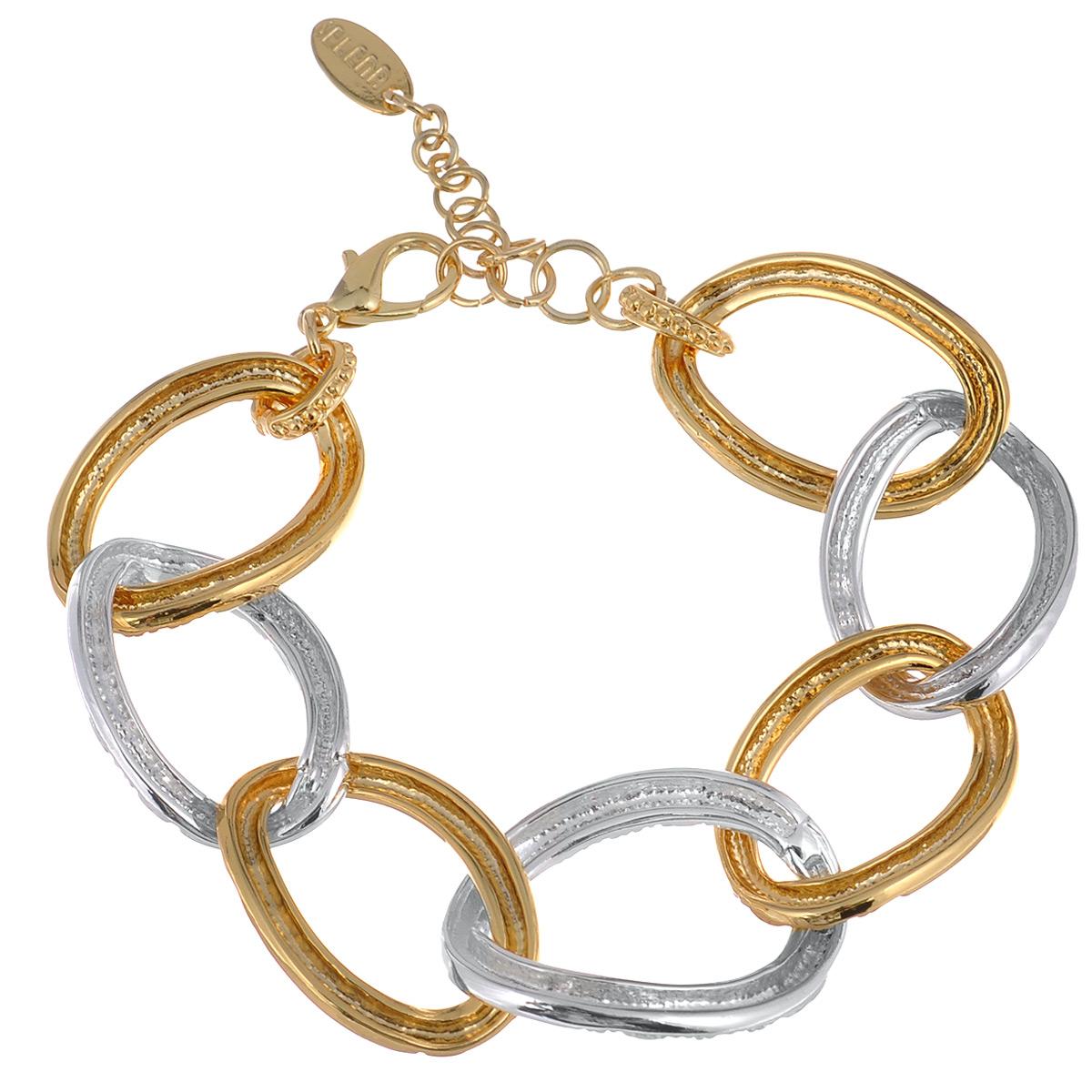 Браслет Selena Medea, цвет: золотистый, серебристый. 4005196040051960Оригинальный браслет Selena Medea выполнен из металла с гальваническим покрытием родием и золотом. Модель выполена в виде цепочки из очень крупных звеньев. Браслет застегивается карабином с цепочкой. Длину можно регулировать. Украшения Медея – это стильная и лаконичная классика, изделия, которые выглядят как дорогие дизайнерские ювелирные украшения.