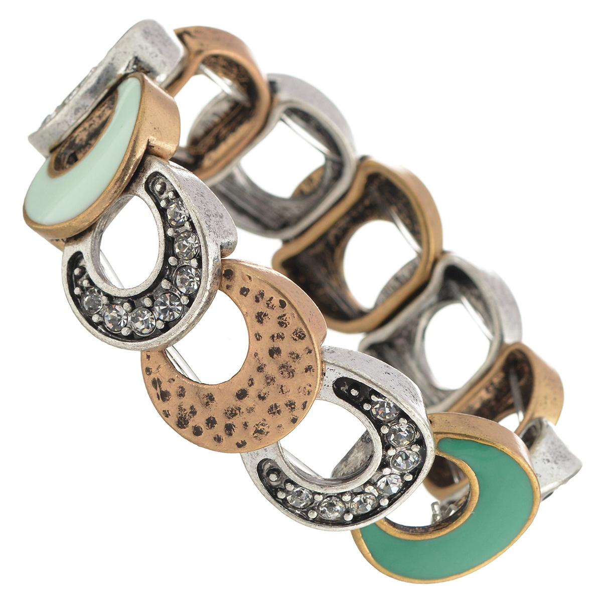 Браслет Selena Street Fashion, цвет: серебристый, золотистый, белый. 4005383040053830Браслет Selena Street Fashion выполнен из металла с гальваническим покрытием золотом и родием и декорирован вставками из эмали и кристаллами Preciosa. Благодаря резинке браслет может растягиваться, что делает его размер универсальным. Коллекция Street Fashion – бижутерия, которая, как и весь уличный стиль, не обязывает к соответствию строгим стандартам, а позволяет легко и немного играючи выстроить свой образ.