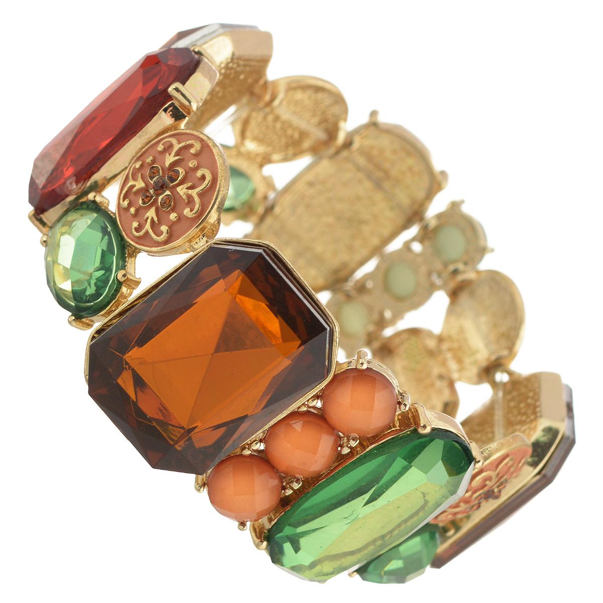 Браслет Selena Street Fashion, цвет: светло-зеленый, желтый, голубой. 4005386040053860Браслет Selena Street Fashion выполнен из металла с гальваническим покрытием золотом и формлен камнями из хрустального стекла. Благодаря резинке браслет может растягиваться, что делает его размер универсальным. Коллекция Street Fashion – бижутерия, которая, как и весь уличный стиль, не обязывает к соответствию строгим стандартам, а позволяет легко и немного играючи выстроить свой образ.