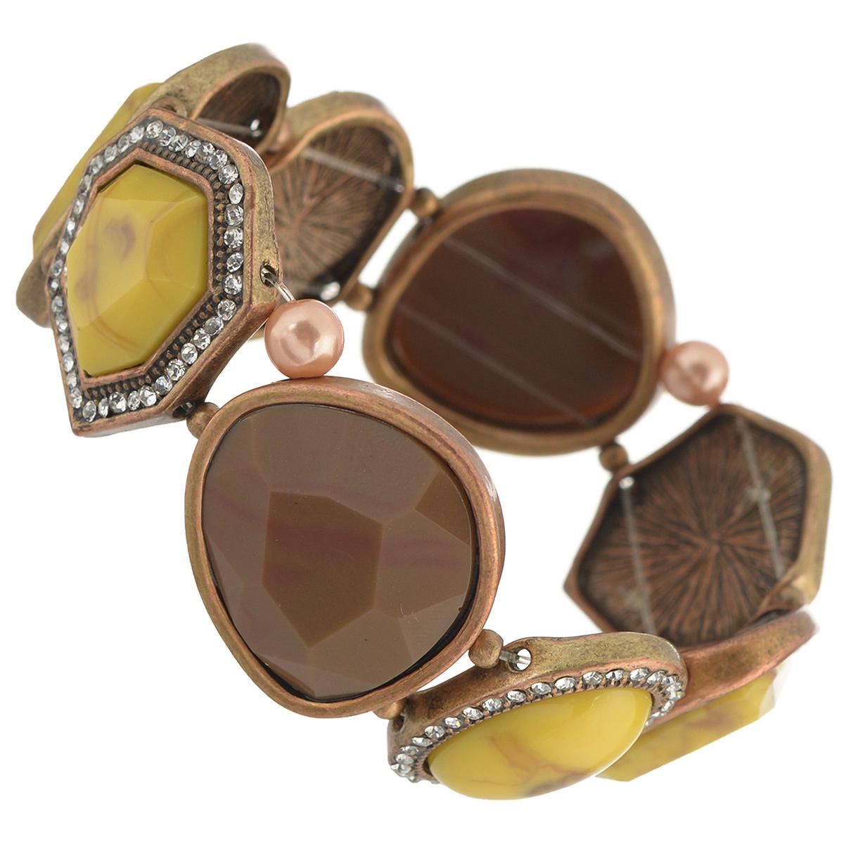 Браслет Selena Street Fashion, цвет: медный, коричневый. 4007792040077920Браслет Selena Street Fashion выполнен из металла с гальваническим покрытием медью и декорирован вставками из ювелирной смолы со стразами Swarovski. Благодаря резинке браслет может растягиваться, что делает его размер универсальным. Коллекция Street Fashion – бижутерия, которая, как и весь уличный стиль, не обязывает к соответствию строгим стандартам, а позволяет легко и немного играючи выстроить свой образ.