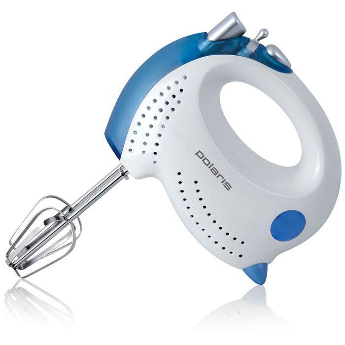 Polaris PHM 3005, White Blue миксерPHM 3005 White BlueМиксер Polaris PHM 3005 от Polaris выгодно отличается своей продуманной конструкцией. Это и работа в 5 скоростных режимах, и кнопка включения/выключения турбо-режима, и использование двух видов насадок. Венчики помогут взбить яйца в пышную пену или приготовить воздушный крем, а насадки для замешивания теста освободят ваши руки для более приятных забот. На корпус также выведена кнопка освобождения насадок.