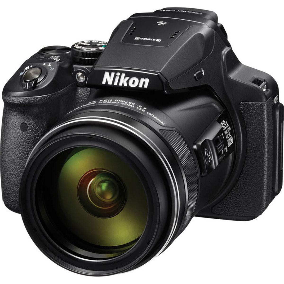 Nikon Coolpix P900, Black цифровая фотокамераVNA750E1Фотографы, увлекающиеся съемкой дикой природы и ночного неба, высоко оценят новую 16-мегапиксельную фотокамеру COOLPIX P900 со сверхмощным 83-кратным оптическим зумом, которая позволяет запечатлеть детали, невидимые человеческому глазу. Мгновенно начинайте съемку, используя ускоренную автофокусировку и сокращенную задержку перед спуском затвора. А также снимайте с выдержкой на 5,0 ступени длиннее, чем обычно, благодаря системе оптического подавления вибраций Dual Detect Optical VR, которая эффективно устраняет смазывание. Экран с переменным углом наклона и встроенный электронный видоискатель предоставляют широкие возможности для компоновки кадра при записи видеороликов Full HD, а также при телефотосъемке с максимальной детализацией. Встроенные модули GPS, ГЛОНАСС и QZSS обеспечивают получение точных данных о месте съемки. А благодаря встроенной функции Wi-Fi и поддержке технологии NFC можно сразу же поделиться полученными изображениями. ...