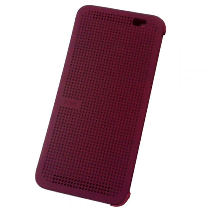 HTC HC M110 Dot Case чехол для One E8, Violet99H11642-00HTC HC M110 - фирменный чехол-раскладушка - позволяет пользователю взаимодействовать с телефоном, не открывая крышку аксессуара. Лицевая сторона чехла выполнена из перфорированного пластика, сквозь отверстия которого хорошо просматривается информация на главном экране. При надетом чехле смартфон распознает аксессуар и включает специальный режим отображения данных. Чехол позволяет принимать звонки, получать уведомления о входящих звонках и сообщениях, состоянии аккумулятора. Двойным постукиванием по поверхности HTC Dot View включается Motion Launch и позволяет включить и выключить индикацию времени и погоды. Если провести по чехлу сверху вниз, активируется голосовой поиск.