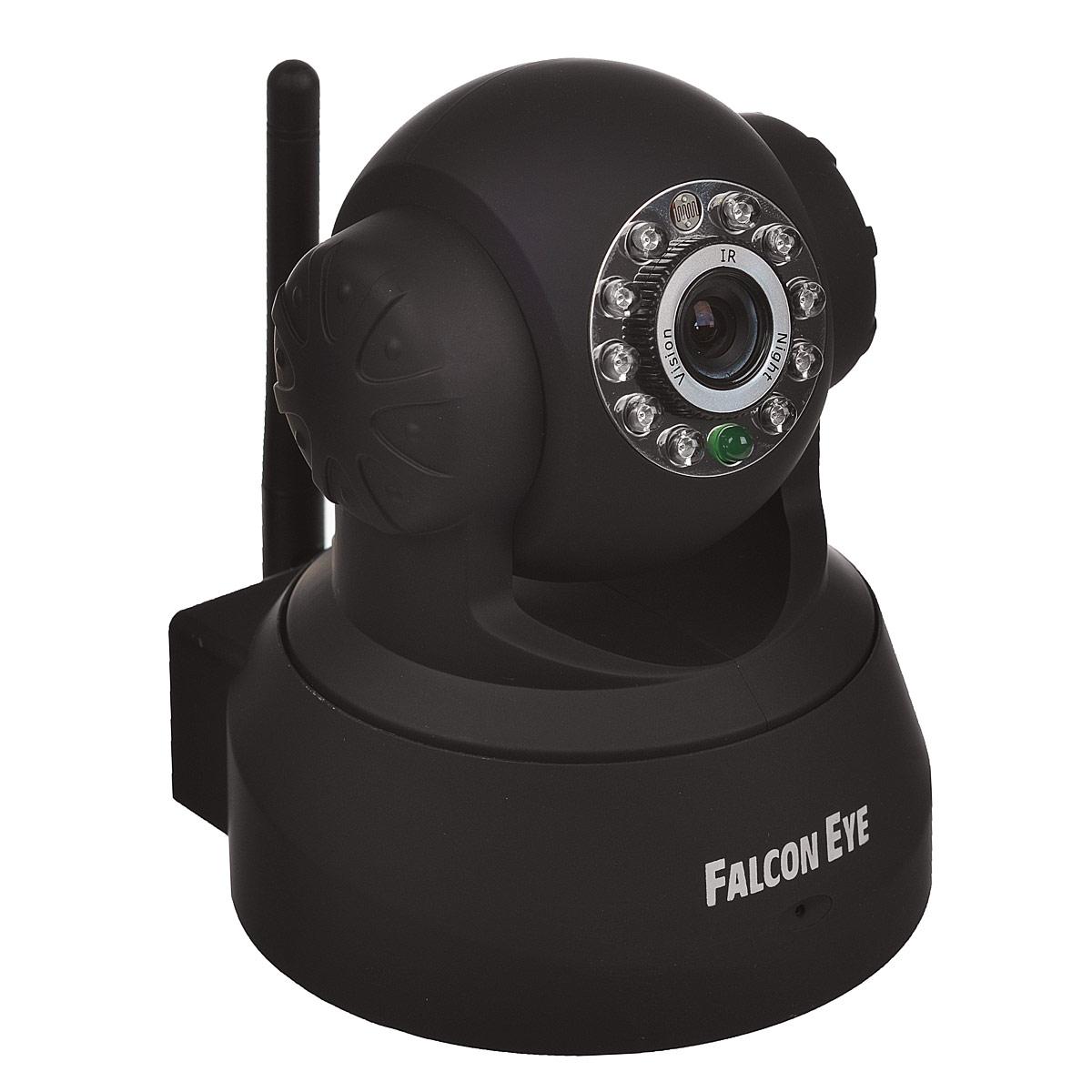 Falcon Eye FE-MTR300-P2P, Black беcпроводная камера видеонаблюденияFE-MTR300Bl-P2PFalcon Eye FE-MTR300-P2P - беспроводная поворотная Wi-Fi IP-камера, которая идеально подходит для осуществления видеонаблюдения в доме, квартире, офисе и других помещениях, где есть Интернет. Данная модель дает возможность удаленного просмотра происходящего на контролируемом объекте. Управляя устройством, вы можете удаленно поворачивать камеру и наблюдать за той точкой объекта, которая интересна в данный момент времени. Данная функция возможна благодаря повороту камеры на 340° по горизонтали 90° по вертикали. Встроенные микрофон и динамик позволяет не только слушать, но и общаться с наблюдаемыми людьми. Благодаря инфракрасной подсветке существует возможность производить видеонаблюдение в темное время суток и при полном отсутствии освещения. Встроенный микрофон Автоотправка на E-MAIL Встроенный динамик Инфракрасная подсветка Просмотр с мобильных устройств Угол наклона: 90° Угол поворота: 340°