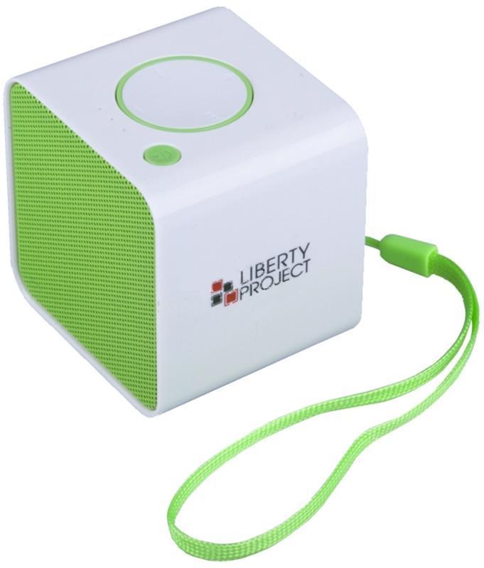 Liberty Project LP-168, White Green беспроводная колонкаR0007637Liberty Project LP-168 - это компактная портативная акустическая система, совместимая с большинством аудиоустройств. Небольшие размеры и встроенный аккумулятор дают возможность использовать колонки в мобильном режиме, в любом месте, где нет электричества. Скромные с виду динамики обеспечивают вполне серьезную громкость и с легкостью озвучивают небольшое помещение или место пикника, отдыха. Для подключения можно использовать стандартный аудиоразъем 3.5 мм. Liberty Project LP-168 - прекрасное решение для всех, кто хочет слушать любимую музыку в компании и не зависеть от розетки. Кроме того, у данной модели акустики есть возможность воспроизводить аудиофайлы непосредственно с карты памяти или обычной USB-флешки.