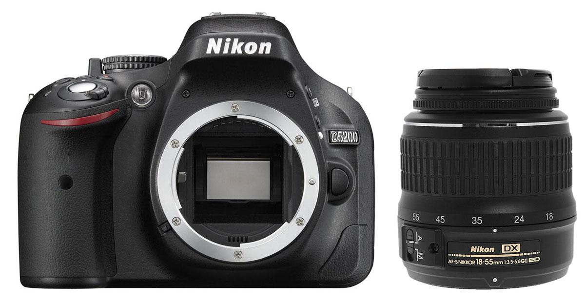 Nikon D5200 Kit 18-55 II, Black цифровая зеркальная камераVBA350K002Nikon D5200 - цифровая зеркальная фотокамера формата DX среднего класса специально создана для того, чтобы Вы могли полностью раскрыть свой творческий потенциал. Эта фотокамера дает максимальную свободу самовыражения в форме живописных фотографий и завораживающих видеороликов в формате Full HD, позволяя Вам продемонстрировать свое собственное уникальное видение мира. Завораживающее качество изображения: Nikon D5200 - это третья фотокамера в данной серии, выпущенная вслед за D5000 и D5100. Она значительно превосходит своих предшественниц по качеству изображения. Помимо КМОП-матрицы формата DX размером 23,5 x 15,6 мм с разрешением 24,1 мегапикселя, обеспечивающей высочайшую детализацию изображений, в этой фотокамере используется новый процессор изображений EXPEED 3. Он отличается высоким быстродействием и превосходной, богатой цветопередачей вдобавок к расширенным возможностям записи видеороликов. Высокая чувствительность ISO (100-6400 с возможностью...